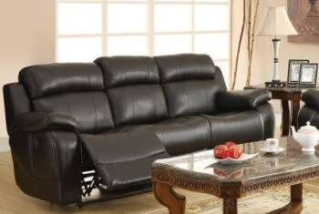 Homelegance Marille Black Faux Leather Reclining Sofa with Drop-Down