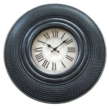 Three Hands Textured Black 20-Inch Wall Clock