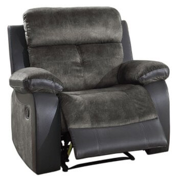 Homelegance Acadia Plush Charcoal Fabric & Faux Leather Recliner