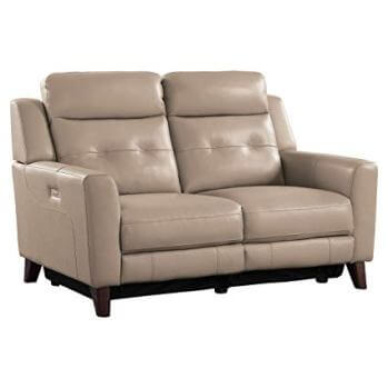 Homelegance Wystan Beige Top Grain Leather Power Reclining Loveseat with USB