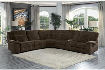Homelegance Annabelle Brown Fabric 6 Piece Reclining Sectional