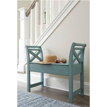 Ashley Teal Accent Storage Bench