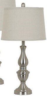 Crestview Sculpted Brushed Nickel Metal Table Lamp