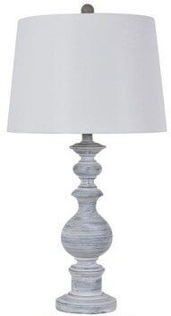 Crestview Distressed White & Grey Table Lamp