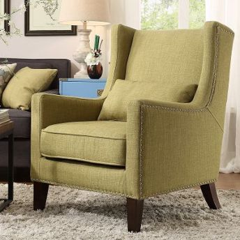Perfect Top Line Chartreuse Linen Wingback Accent Chair
