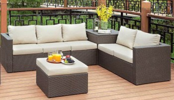 Furniture Of America Davina Outdoor Sectional With Ottoman