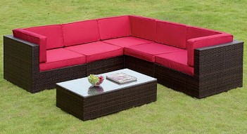 Furniture of America Zendaya Red Outdoor Sectional