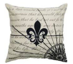 Rizzy Cream & Black Fleur de Lis Throw Pillows (set of 2)