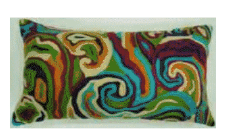Rizzy Multicolored Swirls Rectangular Throw Pillow