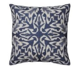Rizzy Dark Blue Throw Pillows with Ivory & Silver Accents (set of 2)