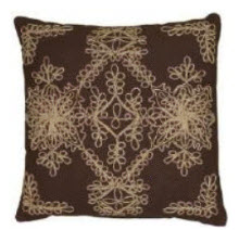Rizzy Chocolate Throw Pillows with Ivory Stitched Accents (set of 2)