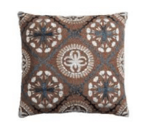 Rizzy Brown Throw Pillow with Medallion Accents