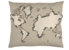 Rizzy Beige World Throw Pillow