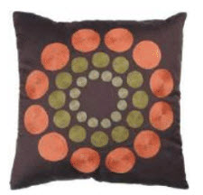 Rizzy Chocolate Throw Pillows with Textured Circle Accents (set of 2)