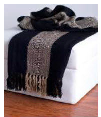 Rizzy Black & Beige Striped Throw Blanket