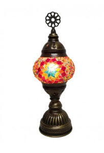 Tribal Home Turkish Antique Bronze Table Lamp with Small Mosaic Glass Shade