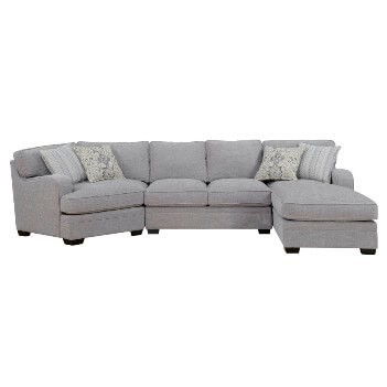 Emerald Analiese Light Grey 3-Piece Sectional with Cuddler