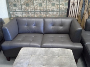 Chateau Dax Alessia Slate Italian Leather Loveseat