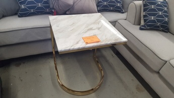 Hammary Allura Marble Top End Table with Gold Base