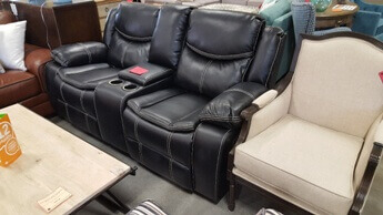 Homelegance Bastrop Black Leather Gel Match Gliding/Reclining Console Sofa