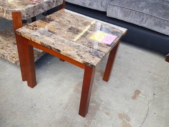 Homelegance Maple & Faux Marble Top End Table with Beveled Trim