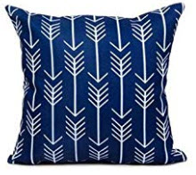 Dark Blue Throw Pillows with White Arrow Accents (set of 2)