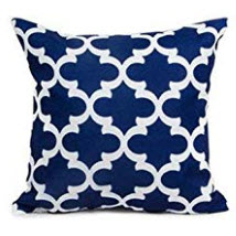 Dark Blue Throw Pillows with Elegant White Accents (set of 2)