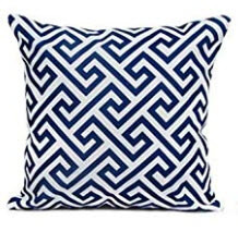 Dark Blue Throw Pillows with White Geometric Accents (set of 2)