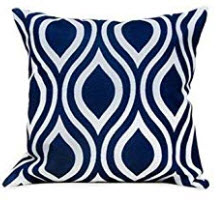 Dark Blue Throw Pillows with White Tear Drop Accents (set of 2)