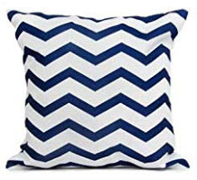 Dark Blue Throw Pillows with White Zig Zag Accents (set of 2)