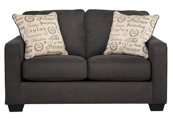 Ashley Camden Charcoal Fabric Loveseat with Squared Arms
