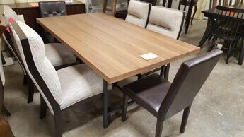 Casana Hardwood Dining Table With Black Metal Base A Few Scuffs