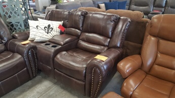 Homelegance Center Hill Brown Faux Leather Reclining Console Sofa