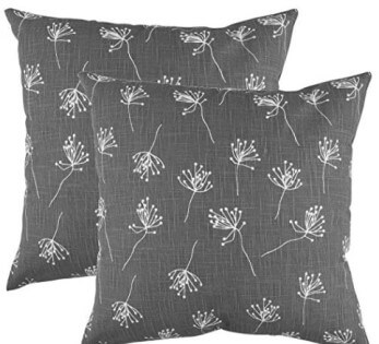 Charcoal Throw Pillows with White Floral Accents (set of 2)