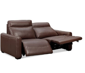 Chateau Dax Chocolate Italian Leather Power Reclining Sofa with Contrast Stitching