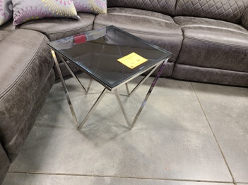 Homelegance Chrome End Table with Glass Top