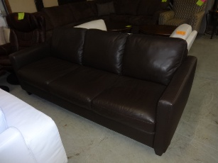 Natuzzi Emilia Chocolate Italian Leather Sofa
