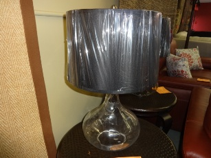 Coaster Clear Glass Table Lamp with Round Black Shade