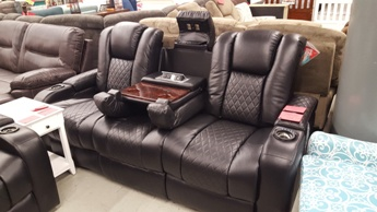 Coaster Delangelo Black Reclining Sofa With Drop Down Adjule Headrests