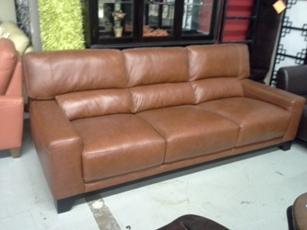 Chateau Dax Luke Cognac Italian Leather Sofa