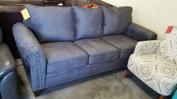 Homelegance Cornelia Charcoal Fabric Sofa with Rolled Arms & Nailhead Trim