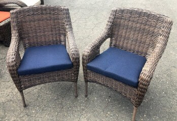 Light Brown PVC Wicker Arm Chair with Blue Seat Cushion
