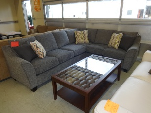 Calvina Plush Silver Tweed Sectional