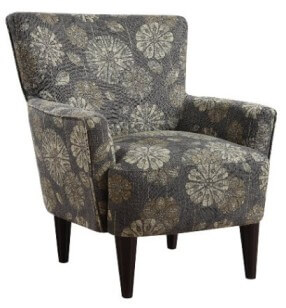 Emerald Cascade Pewter Floral Patterned Accent Chair