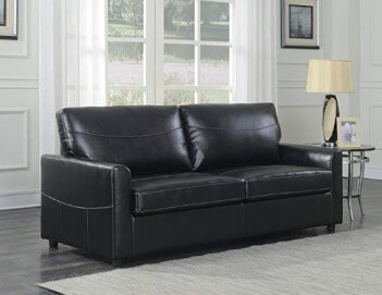 Emerald Black Bonded Leather Queen Size Sleeper Sofa