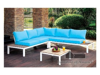 Furniture of America Teal & White Outdoor Sectional with Coffee Table