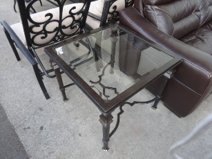 Bassett Black Iron Side Table with Glass Top (blemish)
