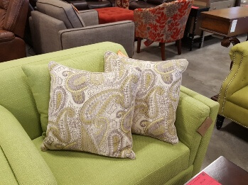 Beige & Lime Green Paisley Throw Pillows (set of 2)