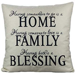 Silver & Black HOME FAMILY BLESSING Fabric Throw Pillow