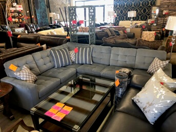 Homelegance Lantana Light Grey Sectional with Nailhead Trim
